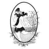 Vintage girl skates. Vector. Set of illustrations. Greeting card Stock Photography