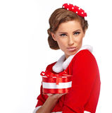 Vintage girl wearing santa claus clothes Royalty Free Stock Photos