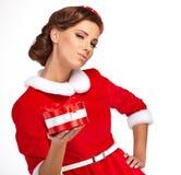 Vintage girl wearing santa claus clothes Royalty Free Stock Image