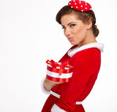 Vintage girl wearing santa claus clothes Stock Images