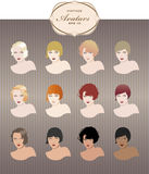 Vintage girls avatars. Variations. Retro style Royalty Free Stock Photos