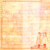 Vintage Girls scrapbook template. Grungy vintage background or scrapbook paper with a couple of girls and music sheets on it Stock Photography