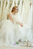 Vintage glamour young woman. Dreaming bride Royalty Free Stock Photos
