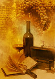 Vintage Glass And Bottle Wine Royalty Free Stock Photo