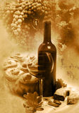 Vintage glass and bottle wine Royalty Free Stock Photos