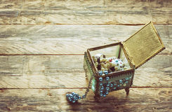 Vintage glass gift box with jewel Stock Images