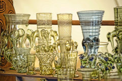 Vintage glass goblets Stock Photo