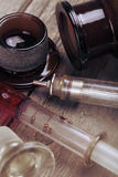 Vintage glass syringe and bottle stock images
