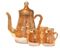 Vintage glass tea service Stock Photo