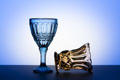 Vintage glasses for alcoholic beverages. Studio photography. Stock Photos