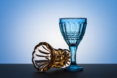 Vintage glasses for alcoholic beverages. Studio photography. Royalty Free Stock Photos