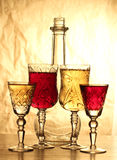 Vintage glasses and bottle Royalty Free Stock Images