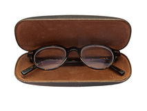 Vintage glasses in case Stock Photos