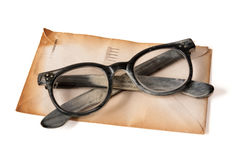 Vintage Glasses and Letter Royalty Free Stock Photography