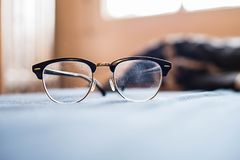 Vintage glasses on the table. With film vintage mood Stock Images