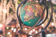 Vintage globe close up in the antique store on Bali island, Indonesia. stock images
