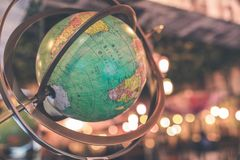 Vintage globe close up in the antique store on Bali island, Indonesia. royalty free stock photo