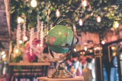 Vintage globe close up in the antique store on Bali island, Indonesia. royalty free stock photos