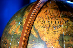 Vintage globe. Close up of old vintage globe Stock Photos