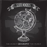 Vintage globe hand drawn sketch placed on blackboard background. royalty free illustration