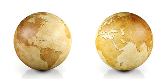 Vintage globe isolated, 3D render Stock Photos