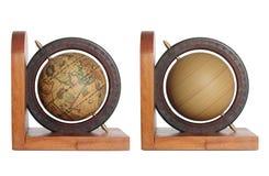 Vintage globe isolated on white stock images