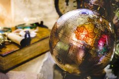 Vintage globe retro background travel geography ancient africa old continent.  royalty free stock photography