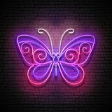 Vintage Glow Butterfly Signboard Stock Photos
