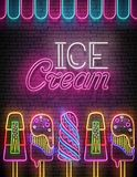 Vintage Glow Poster with Ice Cream Lolly and Inscription. Neon L