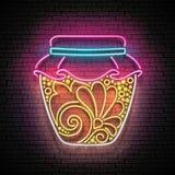 Vintage Glow Signboard with Honey in Jar, Design Element Stock Image