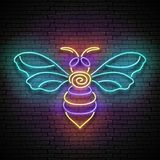 Vintage Glow Signboard with Honeybee, Design Element Royalty Free Stock Images