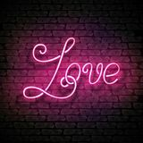 Vintage Glow Signboard with Love Inscription. Valentine`s Day Greeting Card Template. Shiny Neon Light Style Lettering. Holiday Flyer, Banner, Label. Vector 3d Royalty Free Stock Photo