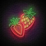 Vintage Glow Signboard with Strawberry, Organic Fruit stock illustration