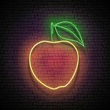 Vintage Glow Signboard with Yellow Apple, Organic Fruit vector illustration