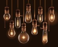 Vintage Glowing Light Bulbs Icon Set. Realistic vintage glowing light bulbs icon set with hanging downward from the ceiling vector illustration royalty free illustration