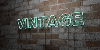 VINTAGE - Glowing Neon Sign on stonework wall - 3D rendered royalty free stock illustration Royalty Free Stock Photo