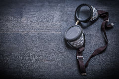 Vintage goggles on wood board with copyspace Royalty Free Stock Photo