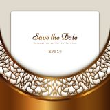 Vintage gold background with cutout border pattern. Vintage gold background, ornamental frame with cutout border pattern, golden lace decoration for save the stock illustration