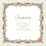 Vintage gold background, square jewelry frame Stock Images