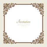 Vintage gold background, square jewelry frame vector illustration
