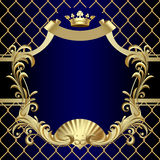 Vintage gold banner with a crown on dark blue baroque background Royalty Free Stock Photos
