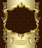 Vintage gold banner with a crown on dark brown baroque backgroun. Vintage gold banner with a crown on dark brown baroque ornamental background. There is in Stock Images