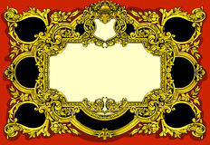 Vintage Gold Baroque Frame on Red Background Royalty Free Stock Photography