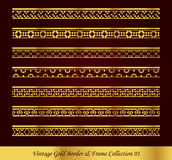 Vintage Gold Border Frame Vector Collection 01. Antique Golden retro abstract seamless pattern frame and border Royalty Free Stock Images