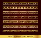 Vintage Gold Border Frame Vector Collection 01. Antique Golden retro abstract seamless pattern frame and border vector illustration