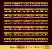 Vintage Gold Border Frame Vector Collection 02. Antique Golden retro abstract seamless pattern frame and border Royalty Free Stock Images