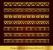Vintage Gold Border Frame Vector Collection 08. Antique Golden retro abstract seamless pattern frame and border Royalty Free Stock Photos