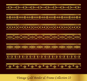 Vintage Gold Border Frame Vector Collection 22. Antique Golden retro abstract seamless pattern frame and border Stock Photo