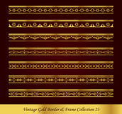 Vintage Gold Border Frame Vector Collection 23. Antique Golden retro abstract seamless pattern frame and border Stock Image