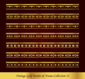 Vintage Gold Border Frame Vector Collection 32. Antique Golden retro abstract seamless pattern frame and border Royalty Free Stock Photography